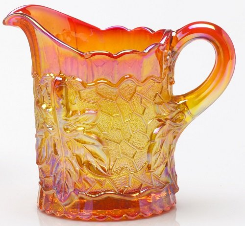 Creamer - Maple Leaf Pattern - Mosser Glass - Marigold Carnival (Glass Pattern Creamer)