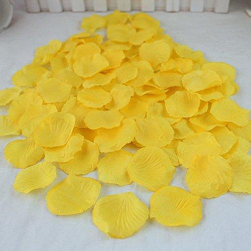 Qich® 1000pcs silk rose petals for wedding party table petals decora flowers (yellow)