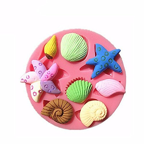 wiwanshop 3D Silicone Seashell Starfish Sea Snail Fondant Cake Chocolate Mold Mould Cake Decoration (Feather Starfish For Sale)