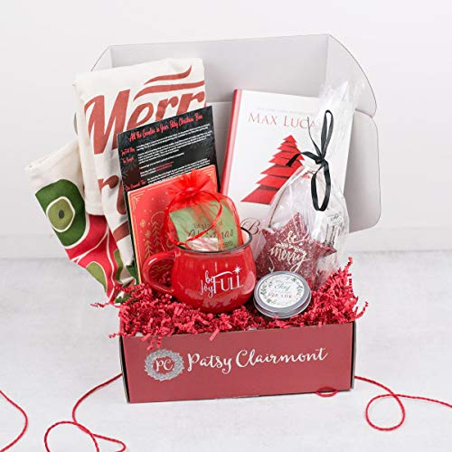 Patsy Clairmont Christmas Gift Box includes Joyful Mug - Tea Sample, Star Ornament Trio, Christmas Sack,