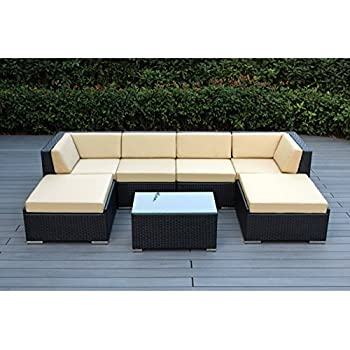Merveilleux Ohana 7 Piece Outdoor Patio Furniture Sectional Conversation Set, Black  Wicker With Sunbrella Antique