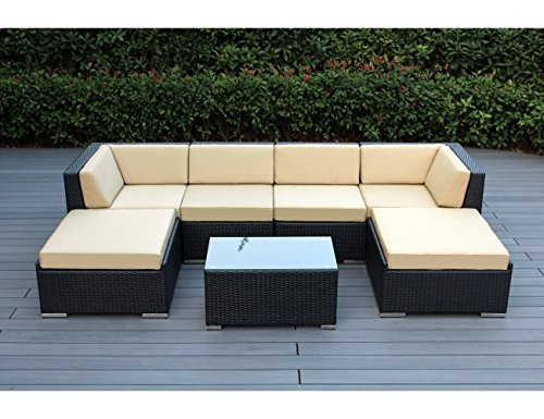 Ohana 7-Piece Outdoor Patio Furniture Sectional Conversation Set, Black Wicker with Sunbrella Antique Beige Cushions - No Assembly with Free Patio Cover