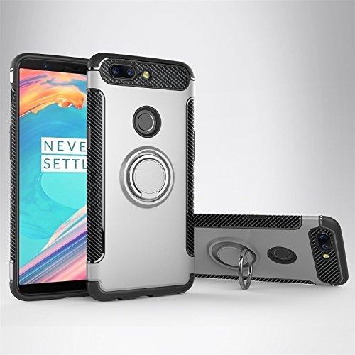GR Para Huawei Honor 8 Dual Layer Protection Case con soporte giratorio Finger Ring Holder y Magnet Car Holder ( Color : Navy ) Gray