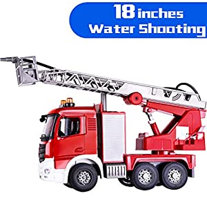 iPlay, iLearn Kids Large Fire Truck Toy, Shooting Water w/ Pump and Ladder, Lights N Sounds, Big Play Emergency Engine Rescue Vehicle, Outdoor Gift for 2, 3, 4, 5, 6 Year Olds, Boys, Girls, Toddlers
