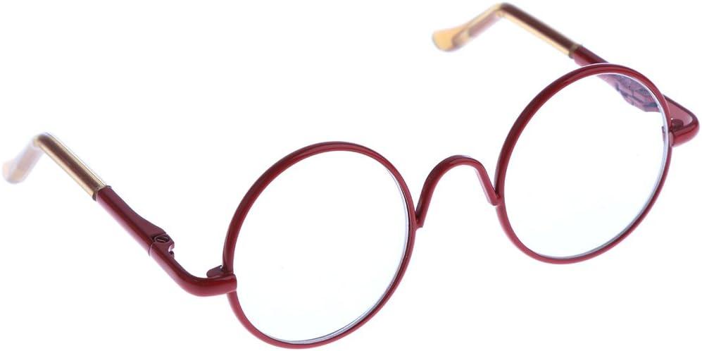 Rouge Sharplace Lunettes de Poup/ée Ronde Lunettes /à Verres Transparents Cadre en M/étal Ornement pour 12 Pouces Blythe Dolls