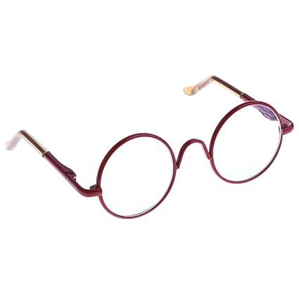 8c4c9c4f35 Amazon.com  Dovewill For 12   Takara Blythe Dolls Hippy Clear Lens Round  Frame Eyewear Eye Glasses Red  Toys   Games