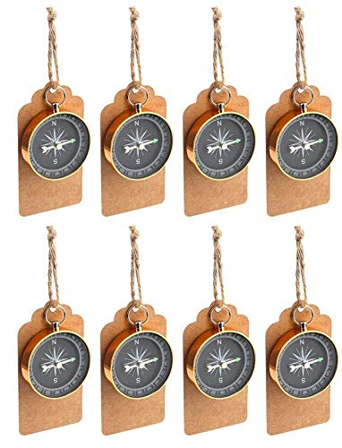 Yuokwer 50pcs Compass Party Favors for Guests, Compass Souvenir Gift with Kraft Tags for Travel Themed Wedding Souvenirs Nautical Christmas Ornaments Birthday Bridal Shower Anniversary Decoration Gift