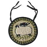 Hooked Rug Folk Art Design Sheep Bird Design Washable Polyester Country Primitive Home Décor