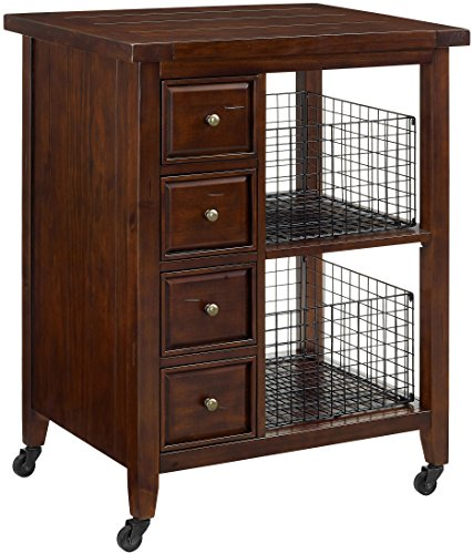 Crosley Furniture Sienna Rolling Kitchen Cart - Rustic Mahogany