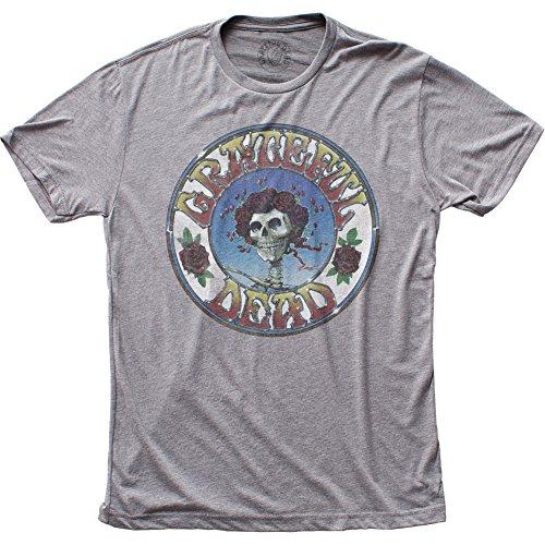 Impact Men's Grateful Dead Distressed Skull and Roses Tri-Blend T-Shirt, Athletic Grey, (Grateful Dead Athletic T-shirt)