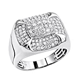 10K Rose, White or Yellow Gold Pinky Rings Real Diamond Band for Men 1.5ctw (White Gold, Size 10)