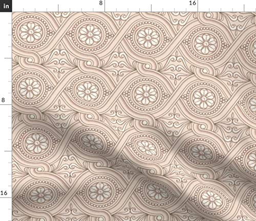 (Spoonflower Guilloche Fabric - Guilloche Vintage Ecru Blush Floral Ornamentation Guillloche Ecru Floral Vintage Ornamental by Muhlenkott Printed on Petal Signature Cotton Fabric by The Yard)