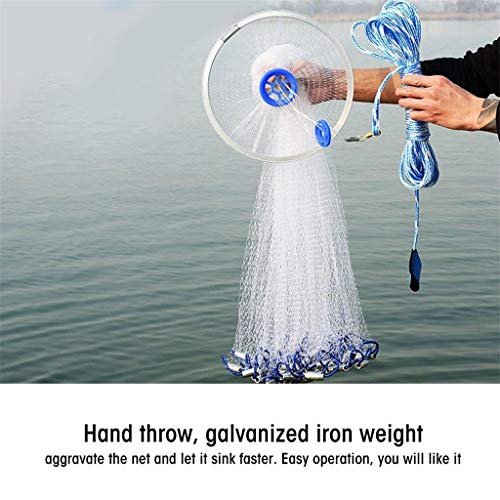 Catch Fish Network, Magic Fishing Net Fine Fish Aluminum Ring American Aluminum Ring Monofilament Thread Throwing Net (2.4 meters diameter, blue) by Sunsee (Image #3)