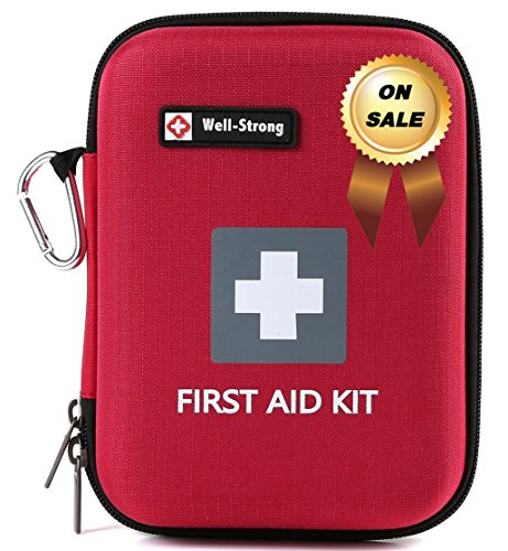 WELL-STRONG 128 Pieces First Aid Kit – Compact and Lightweight First Aid Bag – Essential for Home, Car, School, Office, Sports, Travel, Camping, Hiking or Any Other Outdoors Activities