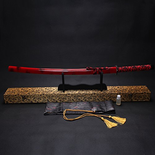 "Splendent Furniture 38"" Handmade Japanese Full Tang Sword T1060 Carbon Steel Blade with Wooden Holder/Stand 4 Colors (Red Sheath & Yellow Box)"