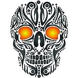 Skull Tattoo Stencil - 4.5 x 6 inch (S) - Reusable Tribal Ethnic Maori Wall Stencil Template - Use on Paper Projects Scrapbook Journal Walls Floors Fabric Furniture Glass Wood etc.