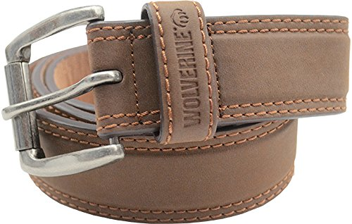 Wolverine Men's Double Topstitched Leather Belt Roller Buckle w/ Updated Buckle!