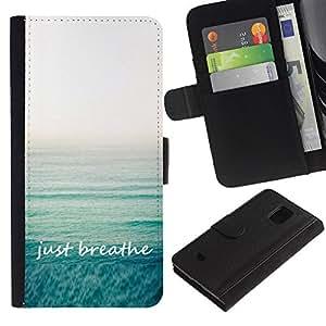 Billetera de Cuero Caso Titular de la tarjeta Carcasa Funda para Samsung Galaxy S5 Mini, SM-G800, NOT S5 REGULAR! / Yoga Calm Exercise Sea Summer Relax / STRONG
