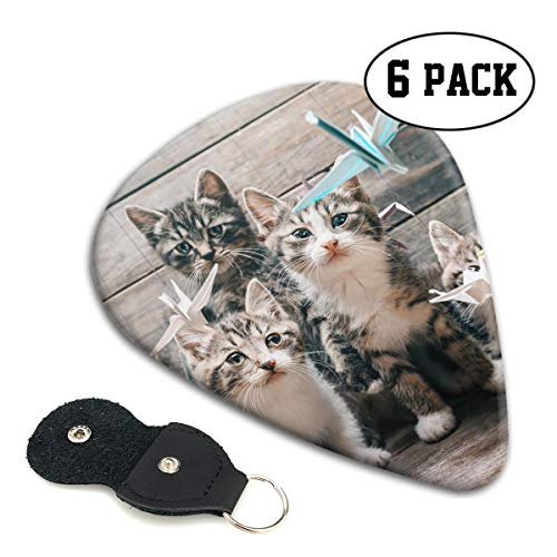 Sulaeb Celluloid Guitar Picks 6 Pack Origami Cats Medium Classic Pick for Acoustic Guitar Bass
