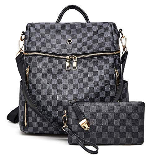 Backpack for women Fashion Leather Ladies Rucksack Crossbody Shoulder Bag 2pcs Purses Backpack Set ()