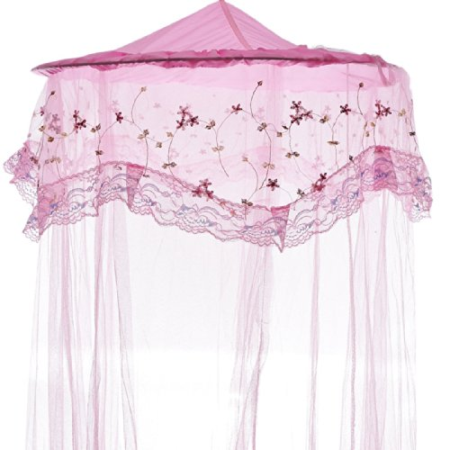 Housweety Princess Lace and Net Round Bed Canopy, 23.62 by 120-Inch, Pink