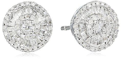 Sterling Silver Diamond Round Stud Earrings (1/2 cttw) ()
