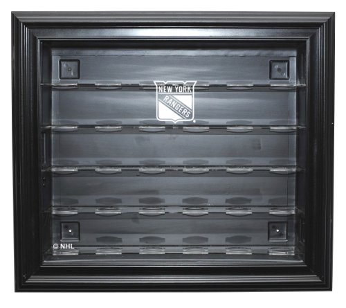 NHL New York Rangers 30 Puck Cabinet Style Display Case, Black