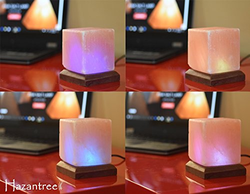 Hazantree LED USB Himalayan Salt Lamp with Wood Base Multi Color Changing (Cube) by Hazantree