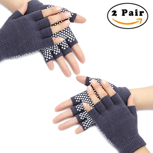 Nlife 2 Pairs Yoga Fingerless Gloves Exercise Grip Gloves Non-Slip Texturizing Beads Perfect for Training Workouts – DiZiSports Store