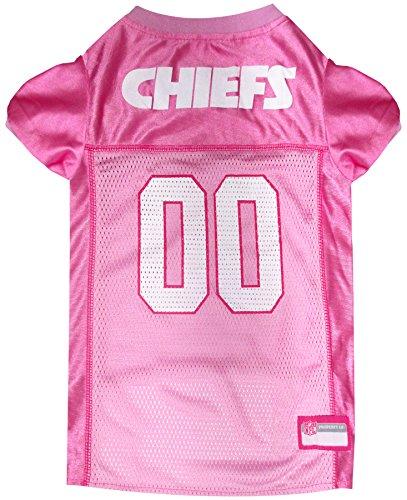 Pets First NFL KANSAS CITY CHIEFS DOG Jersey Pink, Large. - Football Pet Jersey in PINK