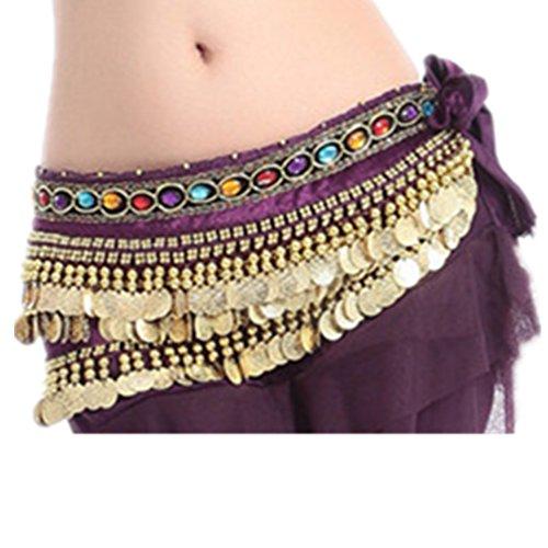 Per Seawhisper A Costume Ventre Fianchi 3 Purple Donna Chiffon Con Belt In Da Bollywoodiano Strati Cinture La Gonna Velo Danza Del pr5rg