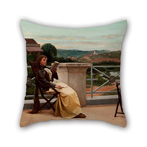 (beeyoo The Oil Painting Almeida J??nior - Reading Cushion Cases of 18 X 18 Inches / 45 by 45 cm Decoration Gift for Festival Couples Indoor Valentine Dinning Room (Twin)