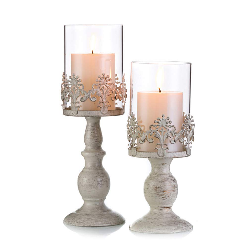 Sziqiqi 2 Pcs/Set Vintage Pillar Holder, Iron Tall Candle Stand Set, Wedding Party Centrepiece Table Top Candlelight Decor (S + L)