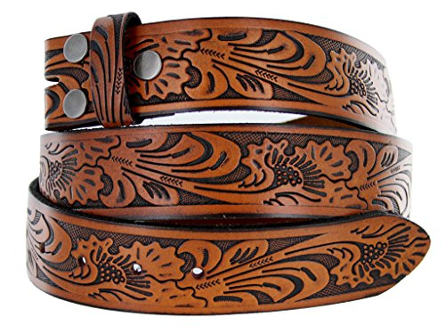 Western Floral Embossed Vintage Soft Genuine Leather Belt Strap 1.5