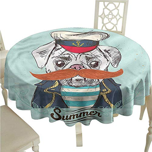 ScottDecor Dinning Tabletop Decoration Pug,Captain Dog with Hat Jacket Wrinkle Free Tablecloths Round Tablecloth D 36