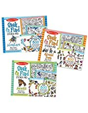 Melissa & Doug 97012 Seek & Find Sticker Pad 3-Pack, Around Town, Adventure, Animals (Each Includes 400+ Stickers, 14 Scenes to Color), Multicolor