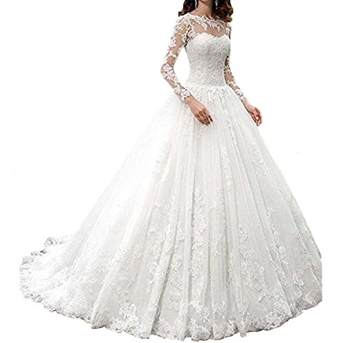 Fair Lady 2017 New Women's Long Sleeves Scoop Lace Ball Gown Wedding Dress Bridal - Hours Fair Fashion