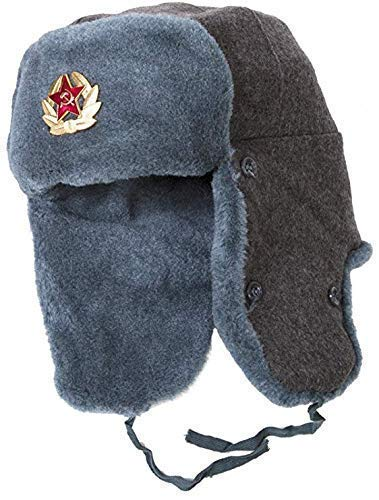 (Ushanka-Hat Russian Army Ushanka Authentic Winter Hat Soviet USSR Army Soldier Red Star WW2 (58 cm - Medium))