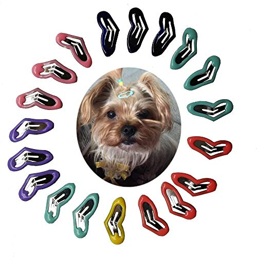 Mini Yorkie - petalk 20pc/Pack Small Dog Hair Clips Mini Clips for Small Breed Teacup Yorkie,Maltese Dog Accessories (Love)