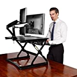 Desktop Workstation Combo Standing Desk - 35'' Wide Platform Height Adjustable Stand Up Desk Computer Riser with Dual Monitor Arm