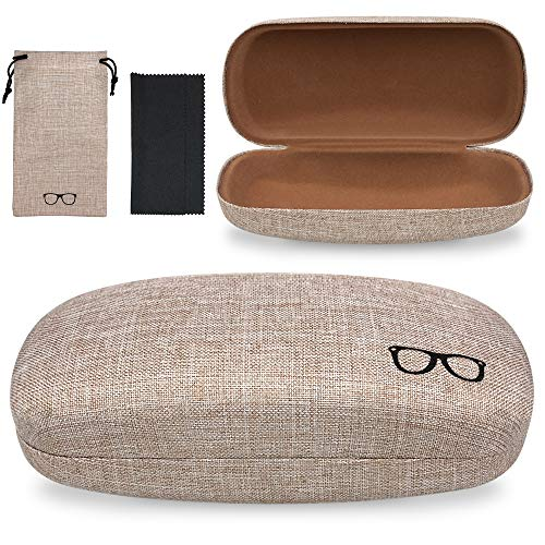 Yulan Hard Shell Glasses Case,Linen Fabric Large Case for Eyeglasses and Sunglasses(Includes Glasses Pouch)(Khaki/Large)