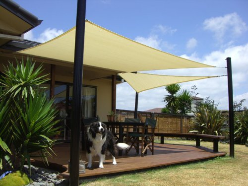 Superior Shade Sail Sun Square Rectangle Patio Cover Canopy (Sand, 12 X 12)