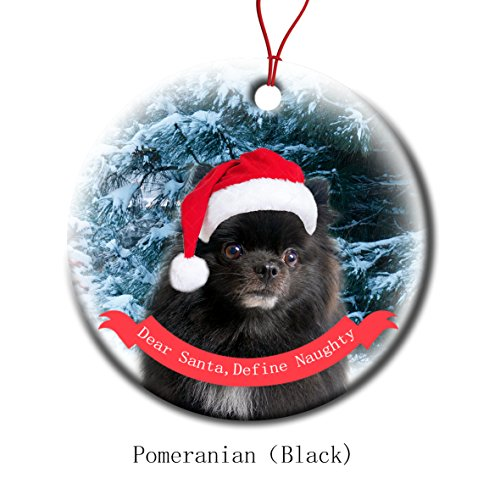 Xmas Ornaments Ceramic Flat Round Snowflakes Santa Dog Pomeranian Black Custom Tree Branch Hanging Decoration for Holiday Season