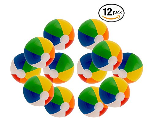 12-Rainbow-Colored-Party-Pack-Inflatable-Beach-Balls-Beach-Pool-Party-Toys-12-Pack