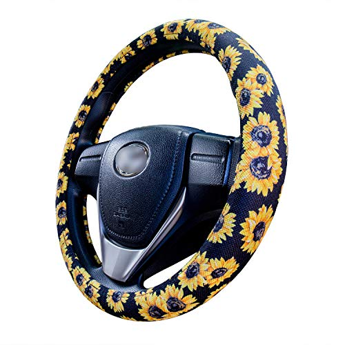 Evankin Sunflower Steering Wheel Cover Cute and Handmade,Flax Universal Steering Wheel Cover 15 inch, Fashionable Boho Sunflower Car Accessories for Women,Top Girl Car - Flax Car