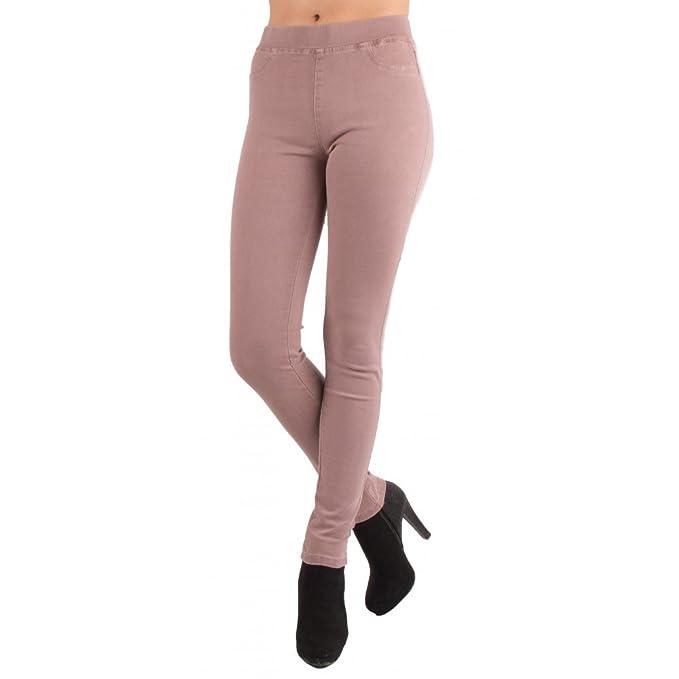 Jegging Rose Parme Taille Haute Forme Jean Slim Ultra Stretch femme ... 7f4ed5aff187