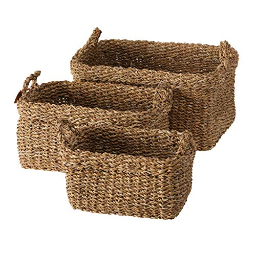Seagrass Nesting - WHW Whole House Worlds Made by Nature Rectangular Storage Baskets, Set of 3, Rustic Chunky Weave Sea Grass, Nesting, 20 3/4, 19, and 15 Inches Long, Display, Storage and Organization