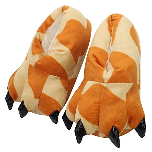 Abary Unisex Costume Animal Home Slippers Adult Children Claw Paw Shoes Giraffe Orange Beige Men (Orange Onesie For Adults)
