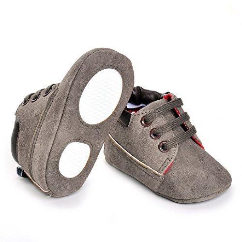 hibote Para bebé Los bebés de los zapatos de las muchachas suavemente único Leathe la zapatilla de deporte del niño de Prewalker recién nacidos gris