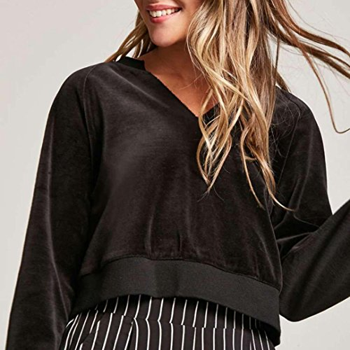 HUHU833 Blouse Femmes Casual Velours Court Col V à manches longues mode Tops Sweater Tee-Shirt